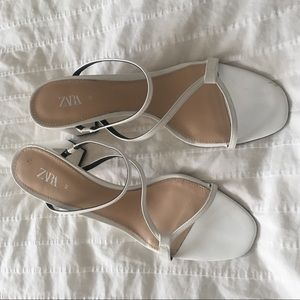 ZARA white slip on chunky heel sandal